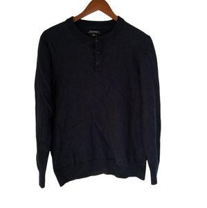 Isaac Mizrahi 100% extrafine merino wool navy blue sweater size L